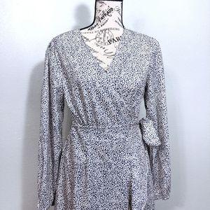 Long Sleeve Silky Wrap High Low Dress